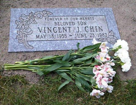 Vincent Chin gravesite, Forest Lawn Cemetery, Detroit. Photo by Emily P. Lawsin, June 23, 2010.